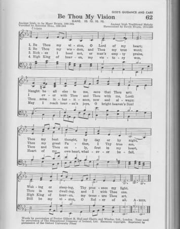 """""""Be Thou My Vision"""" (tune: Slane), as I first encountered it in the 1956 Baptist Hymnal"""
